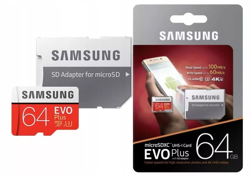 SAMSUNG Evo Plus Micro SD карты 64 ГБ class10