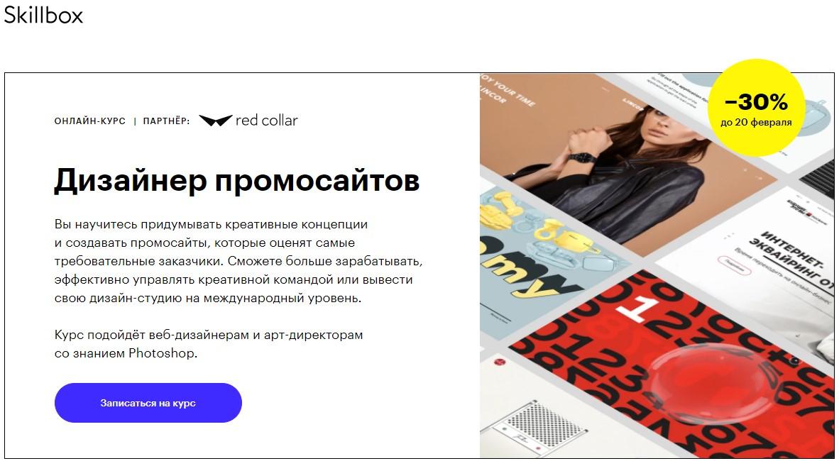 Дизайнер промо сайтов» от SkillBox