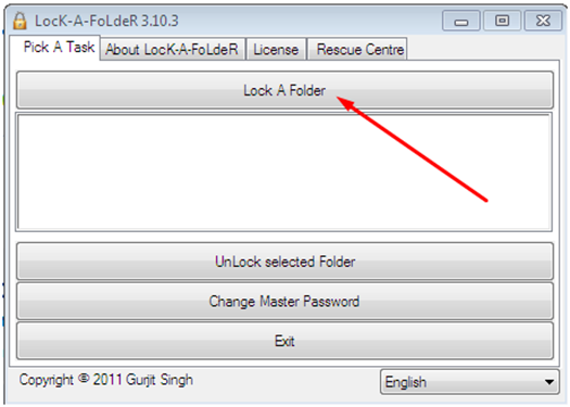 "Кнопка ""LocK A Folder"""