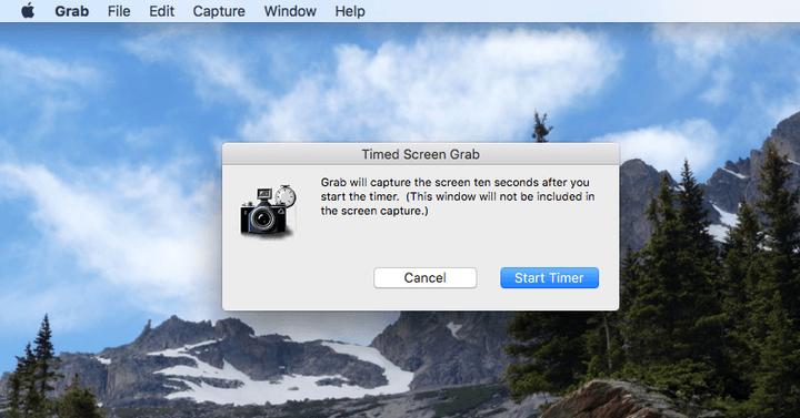 Опция 10-секундной задержки перед захватом снимка экрана