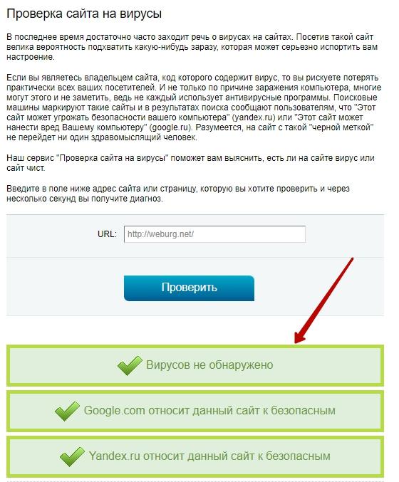 Результат проверки ссылки с помощью сервиса 2ip.ru
