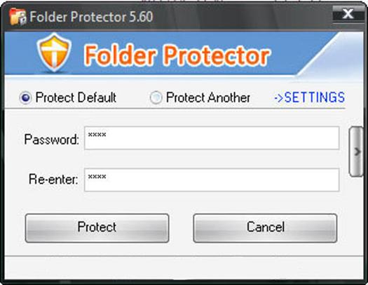 Создание пароля для папки с помощью Folder Protector