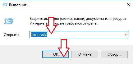Вводим «msinfo32»