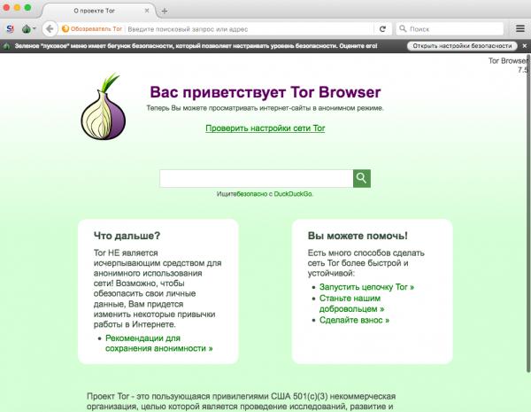 Интерфейс браузера Tor