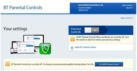 Кнопка отключения BT Parental Controls