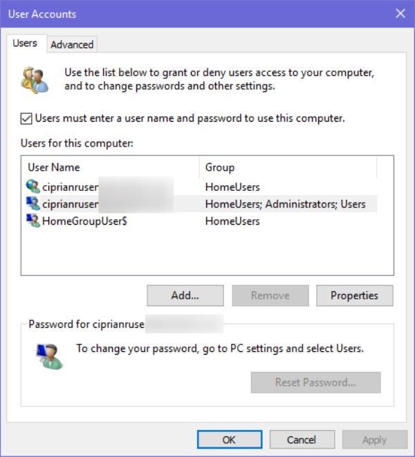 Окно «Учетные записи пользователей»