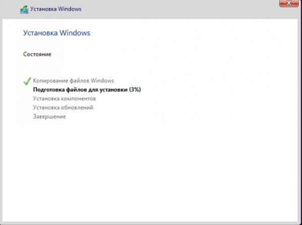 Процесс установки Windows 8