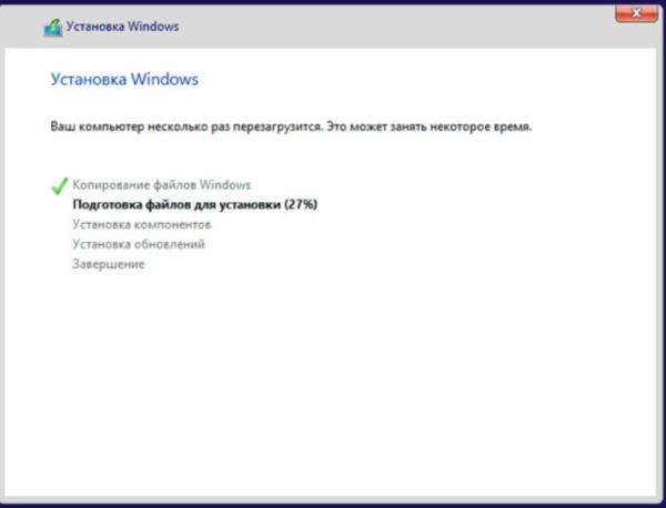 Процесс установки Windows