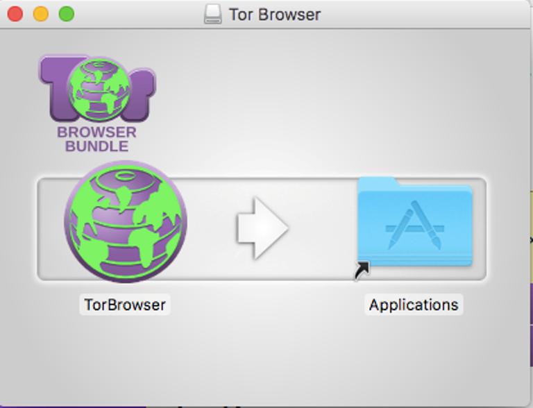 В macOS открываем файл и перетягиваем значок Tor'а в папку с приложениями