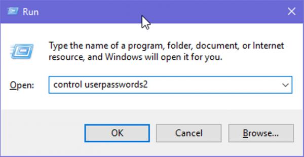 В окне Run вводим control userpasswords2