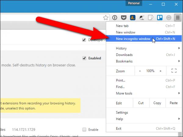 Выбираем в главном меню Google Chrome «Новое окно инкогнито» или нажимаем сочетание клавиш Ctrl+Shift+N на клавиатуре