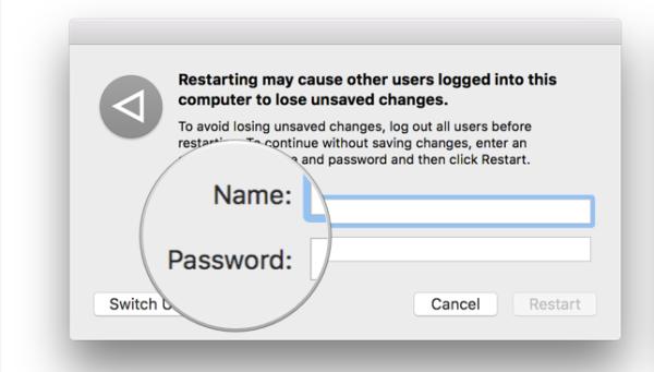 Другой пользователь должен ввести свой логин и пароль