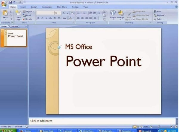 Главный экран Microsoft PowerPoint
