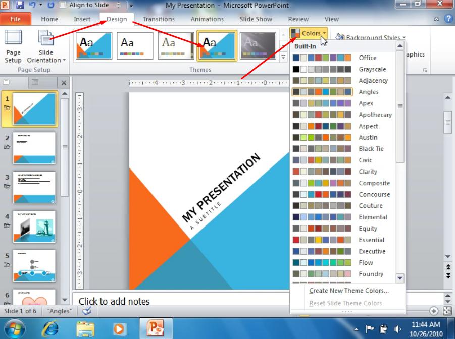Применение дизайна к слайдам
