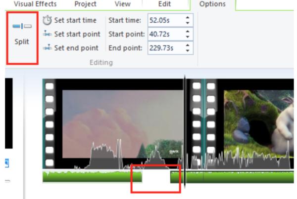 Разделяем выбранный аудиоклип на два клипа в текущем положении точки воспроизведения