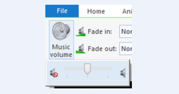 Регулируем громкость аудиодорожки посредством бегунка