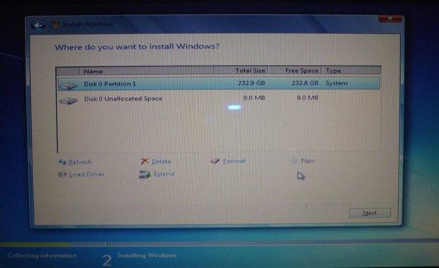Указываем том жесткого диска, предназначенный для установки операционной системы