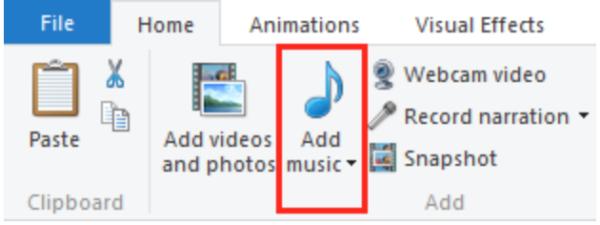 Выбираем «Add music»