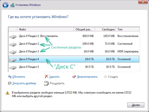 Выбираем диск, на который хотим установить Windows 10, нажимаем «Далее»