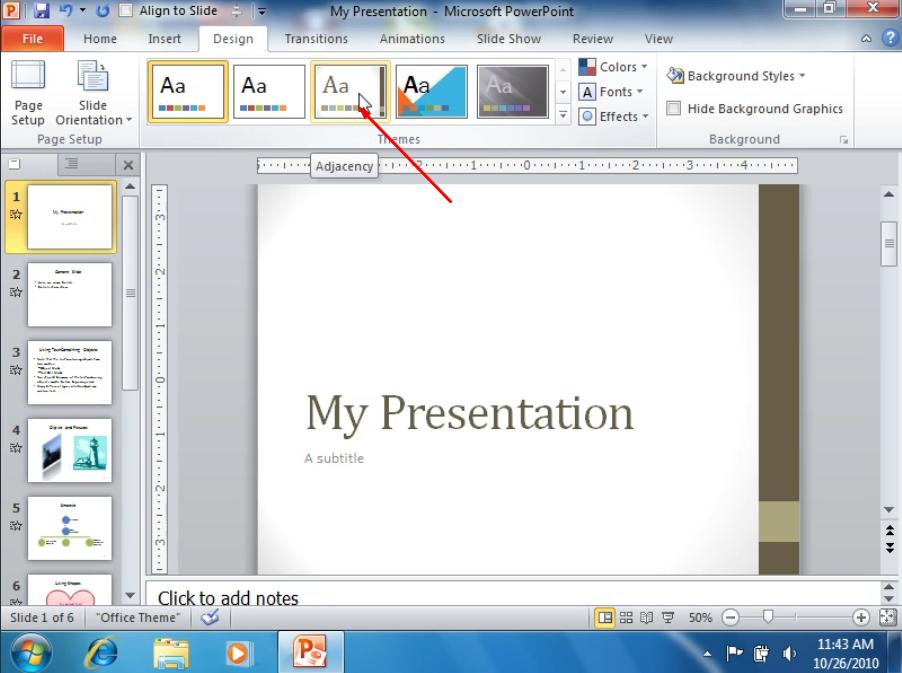 Выбираем дизайн слайда