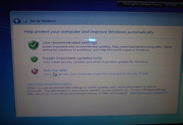 Выбираем настройки защиты операционной системы