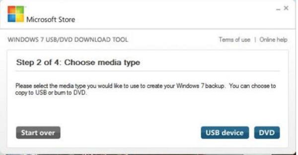 Выбираем оптический диск «DVD»