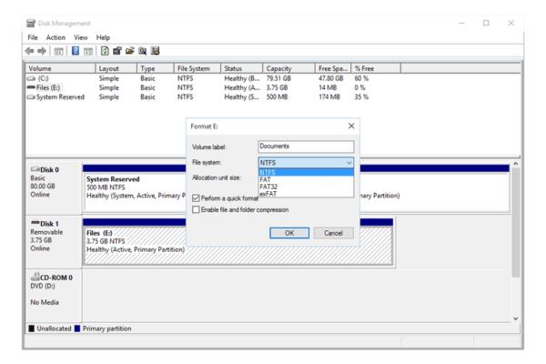 Выбираем тип файловой системы FAT32