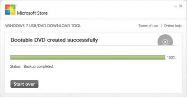 Завершение записи «Status Backup completed»