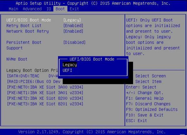 2 загрузочных режима Legacy и UEFI