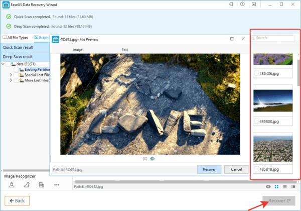 Что бы не восстанавливать файлы по одному, после просмотра ставим галочки на выбранные файлы и нажимаем кнопку «Recover» или «Восстановить»