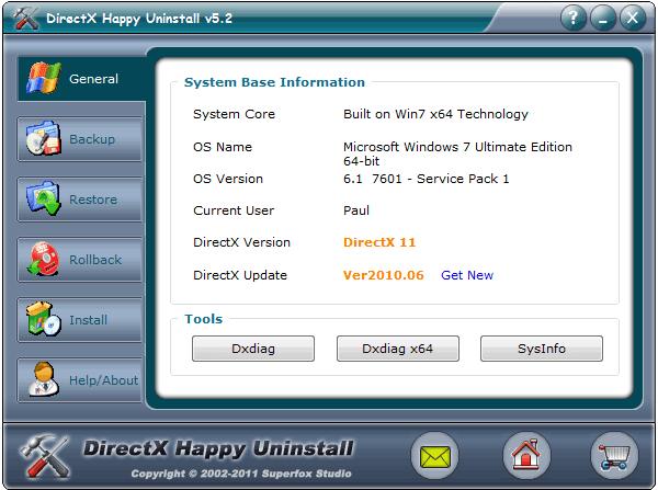Интерфейс программы DirectX Happy Uninstall