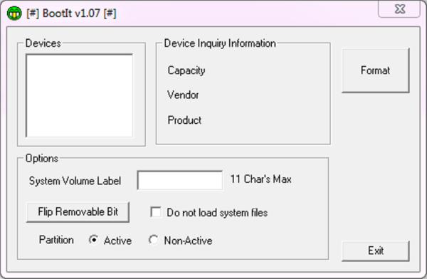 Интерфейс программы Lexar Bootit