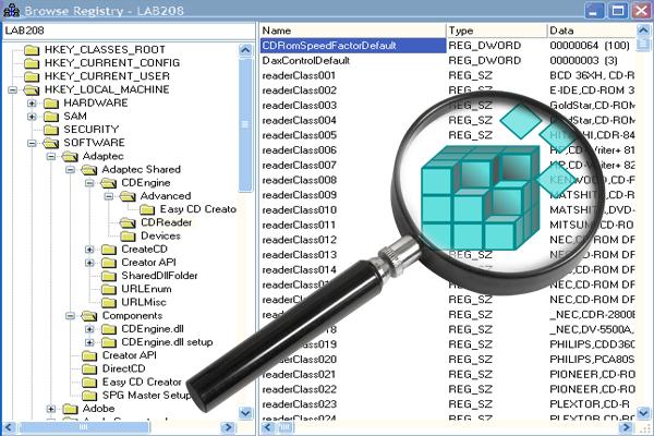 Компоненты реестра разложены по нескольким папкам меньшего размера
