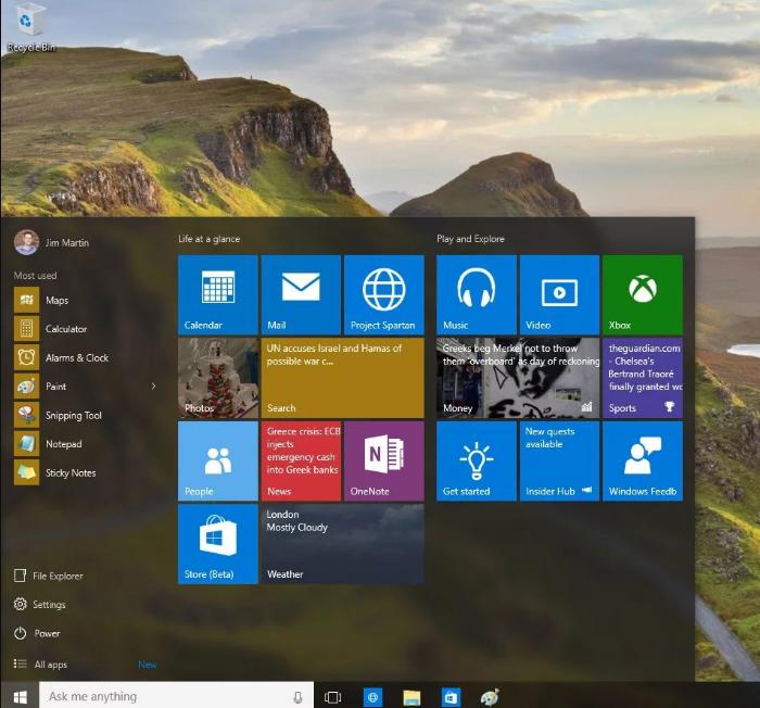 Меню «Пуск» Windows 10