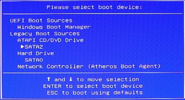 Нажав клавишу «F9» можем выбрать устройство, с которого будет загружаться система на ноутбуке