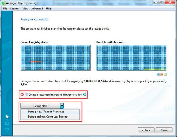 Ставим галочку возле варианта создания точки восстановления системы и нажимаем кнопку Defrag Now или выбираем опцию Defrag on Next