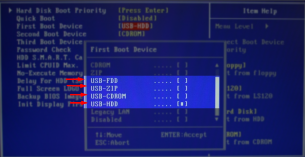 В разных версиях существуют разные типы загрузки USB_CDRom, USB_FDD, USB _HDD