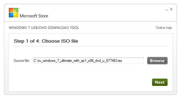 В строчке Source file нажмите «Browse», выберите на вашем компьютере файл с ISO-образом Windows 7 и нажмите «Next»