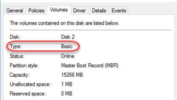 Во вкладке «Volumes» («Вместительность») напротив характеристики «Type» («Тип») должно быть проставлено «Basic» («Основной»)