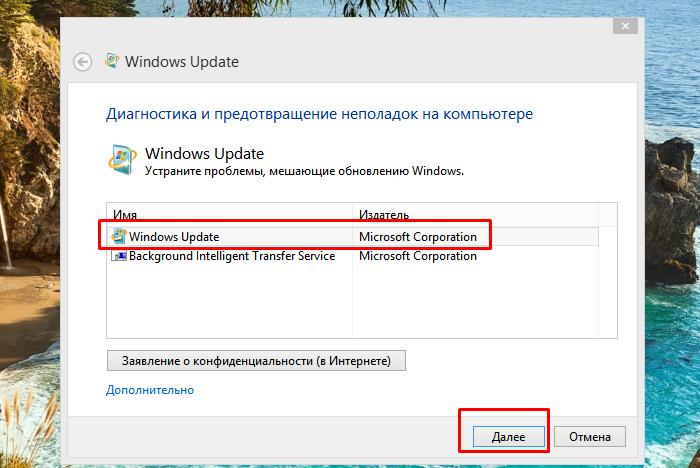 Выбираем «Windows Update», нажимаем «Далее»
