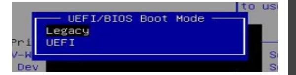 """Выбираем переключение режимов в меню """"Boot"""""""