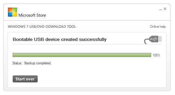 Загрузочное USB-устройство было успешно создано