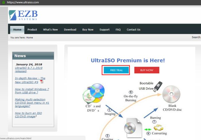 На официальном сайте разработчика программы Ultra ISO щелкаем по кнопке «Free Trial»