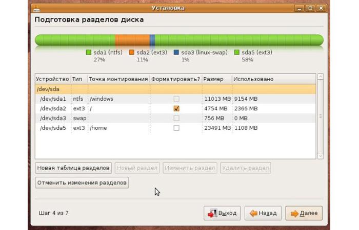 Разметка раздела с помощью установщика Linux