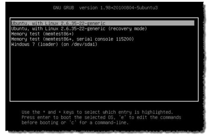 Установленная программа Ubuntu рядом c Windows