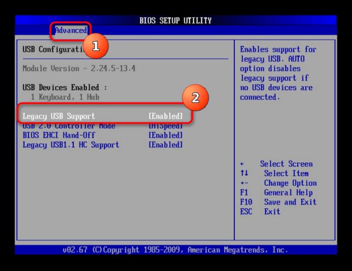 В разделе Advanced ищем Legacy USB и отключаем его, устанавливая «Disabled»