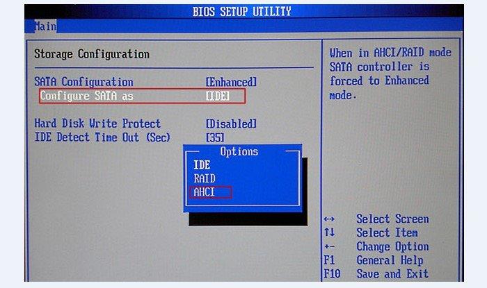 Во вкладке «Main» находим «Configure SATA» и вместо «IDE» устанавливаем «AHCI»