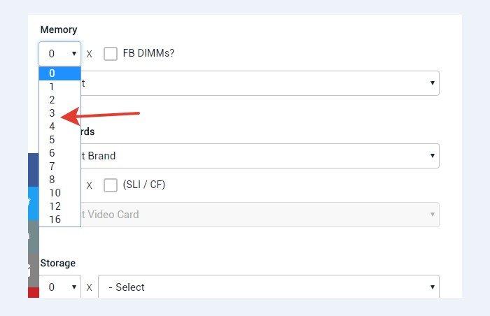 Выбираем количество установленной DDR памяти