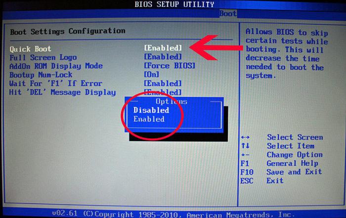 В меню «Boot» («Boot Settings Configuration») открываем опцию «Quick Boot» («Быстрая загрузка»), выставляем значение «Enabled»